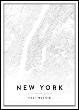 New York Kort Plakat