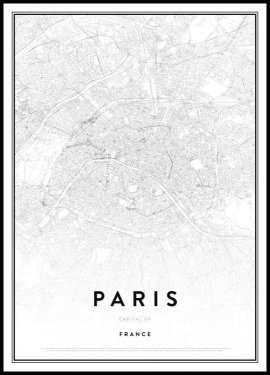 Paris Kort Plakat
