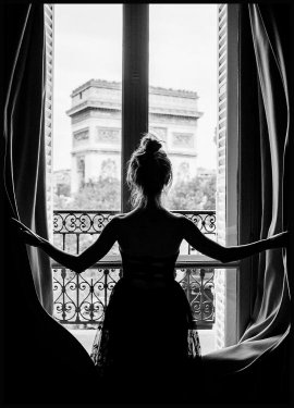 Girl in Paris Window Plakat