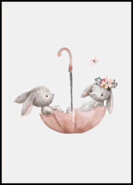 Bunnies Umbrella Plakat