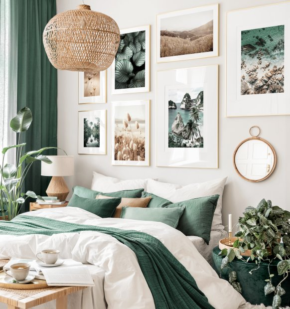 Charming emerald green gallery wall landscape posters golden frames