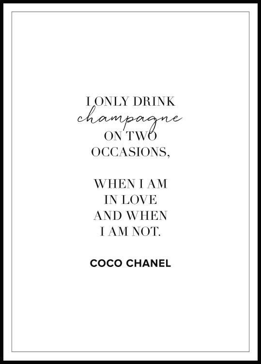 Champagne Coco Chanel Plakat